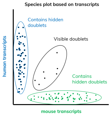 Schematic of Barnyard plot showing visible and hidden doublets